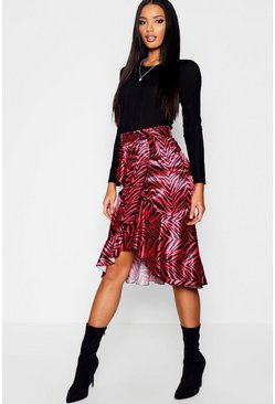 Womens Red Satin Zebra Ruffle Wrap Midi Skirt