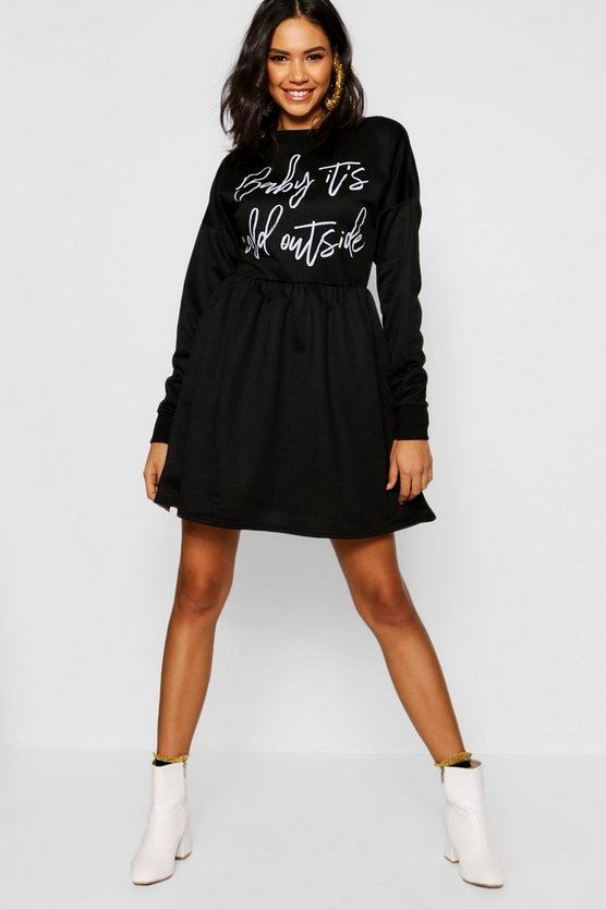 Womens Black Christmas Slogan Smock Sweatshirt Dress