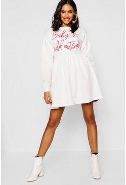 Womens White Christmas Slogan Smock Sweatshirt Dress