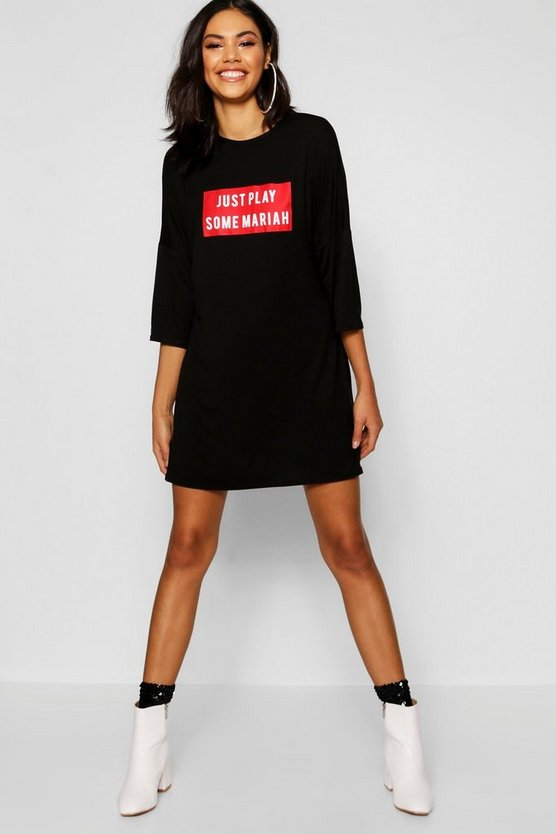 Christmas Just Play 3/4 Sleeve T-Shirt Dress