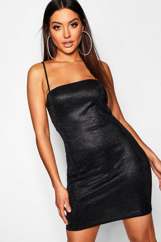 Womens Black Glitter Square Neck Mini Dress