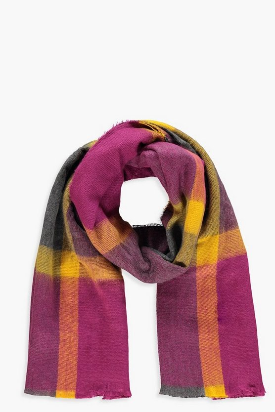 Berry Check Woven Scarf