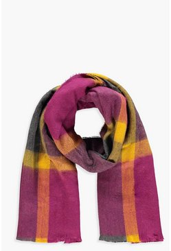 Womens Pink Berry Check Woven Scarf