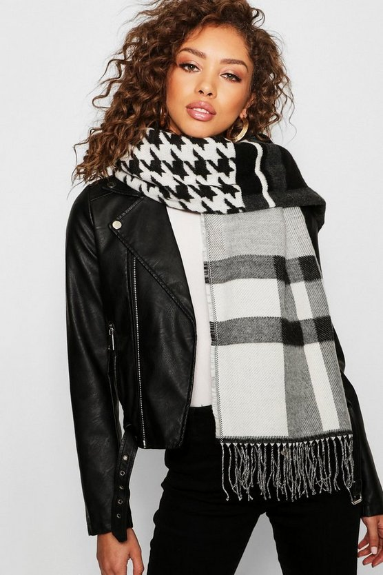Womens Black Check Houndstooth Mixed Woven Scarf