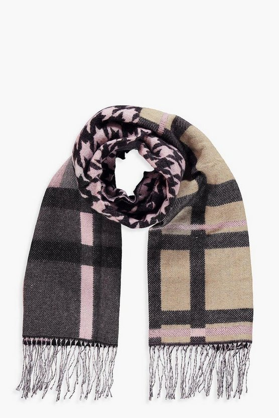 Check Houndstooth Mixed Woven Scarf