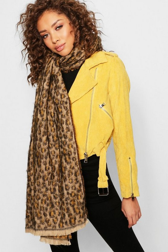Womens Natural All Over Leopard Woven Scarf