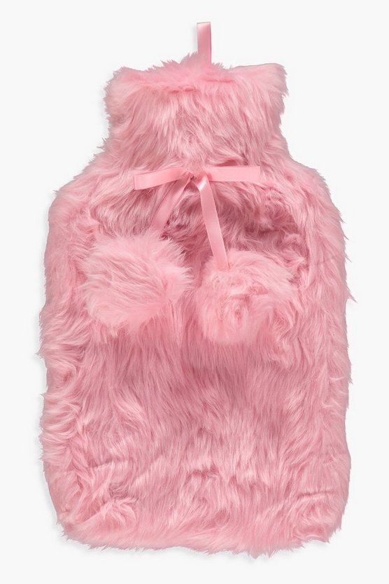 Womens Pink Fluffy Double Pom Hot Water Bottle