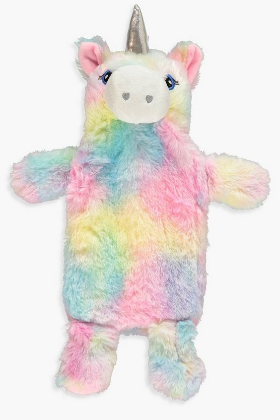 Womens Multi Rainbow Fluffy Unicorn Hotwater Bottle
