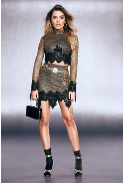 Womens Black Premium Glitter Lace Hem Mini Skirt