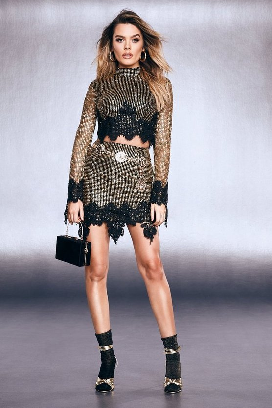 Premium Glitter Lace Hem Mini Skirt