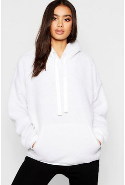 Womens White Borg Knitted Pocket Oversized Boyfriend Sweater