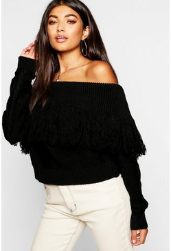 Womens Black Knitted Off The Shoulder Jumper