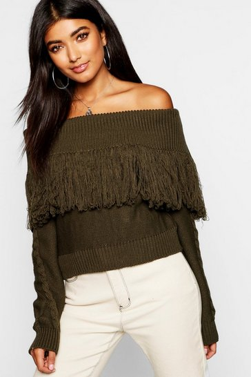 Womens Khaki Knitted Off The Shoulder Jumper