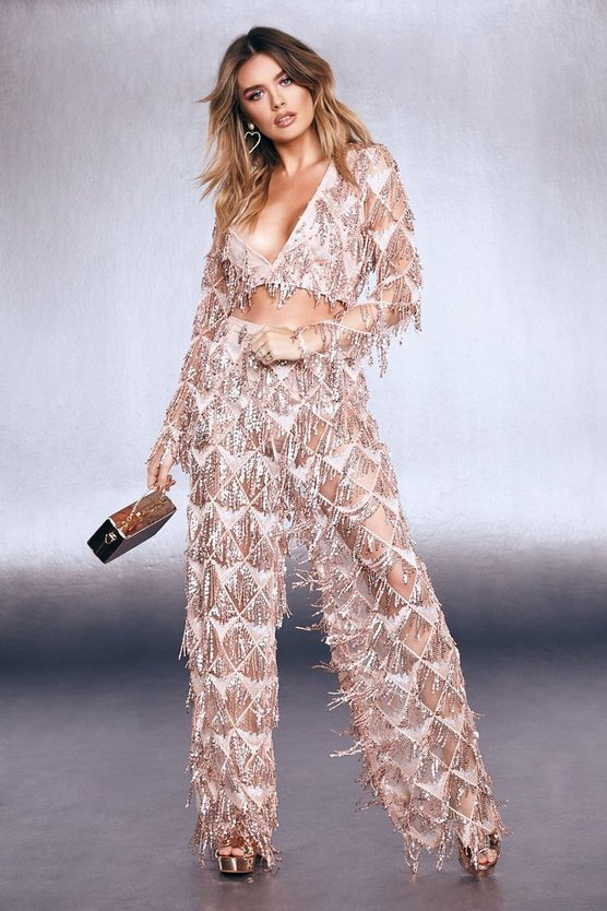 Premium Fringe Sequin Wide Leg Trouser