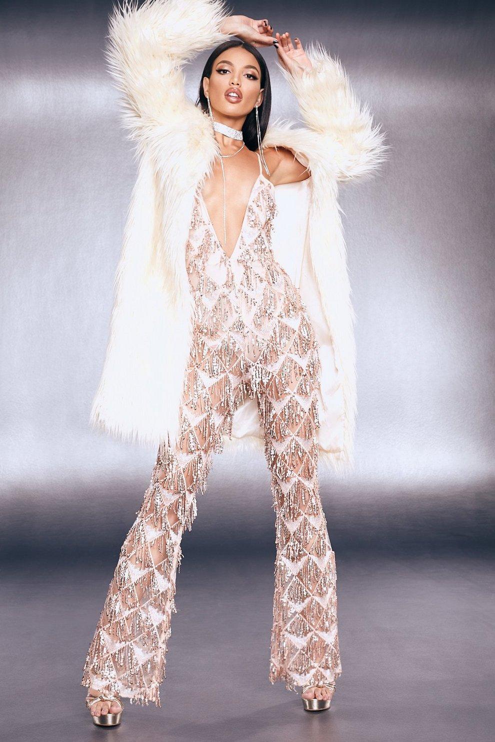 b1a6071994b Premium Fringe Sequin Jumpsuit