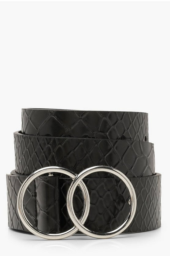 Womens Black Double Ring Croc Belt
