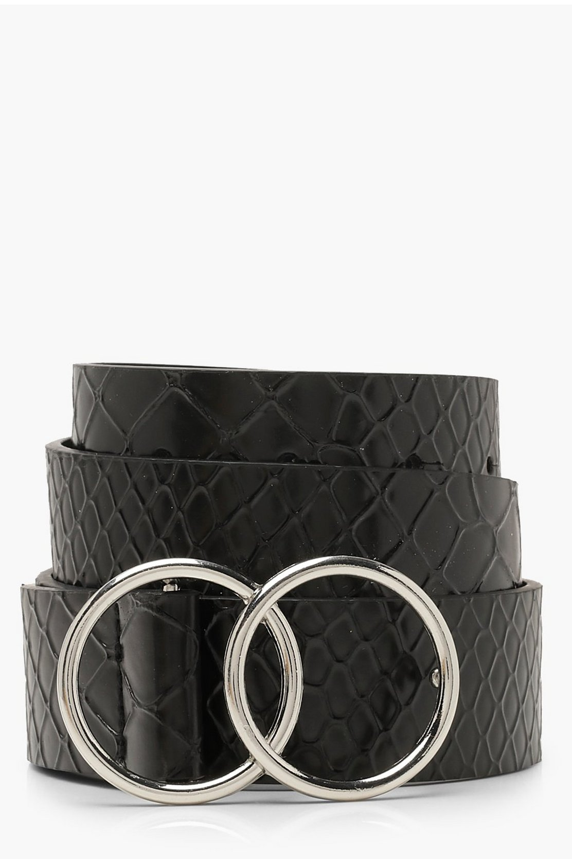 Double Ring Croc Belt by Boohoo