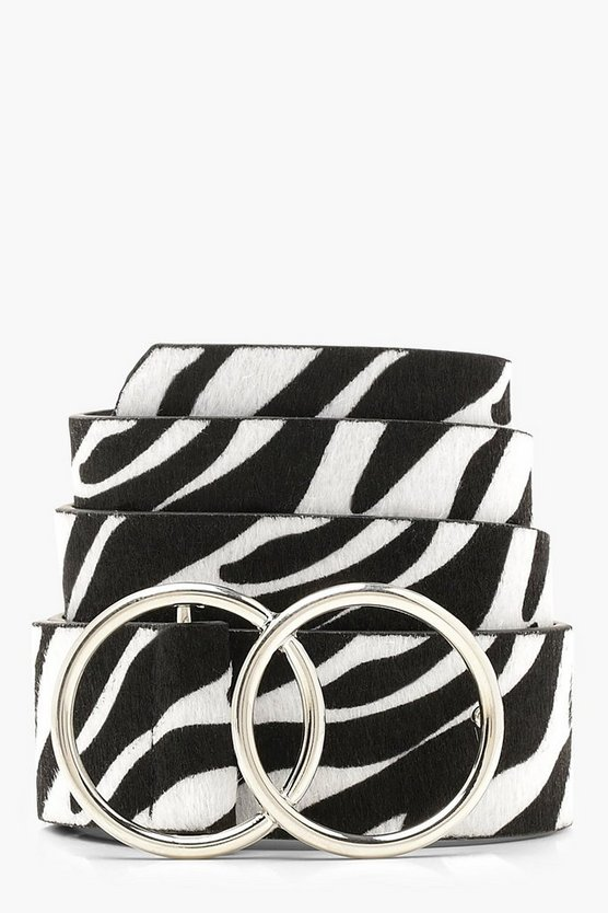 Womens Double Ring Zebra Belt