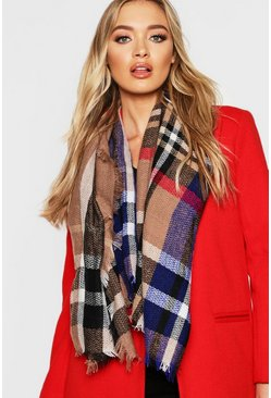 Womens Natural Colour Pop Check Woven Scarf