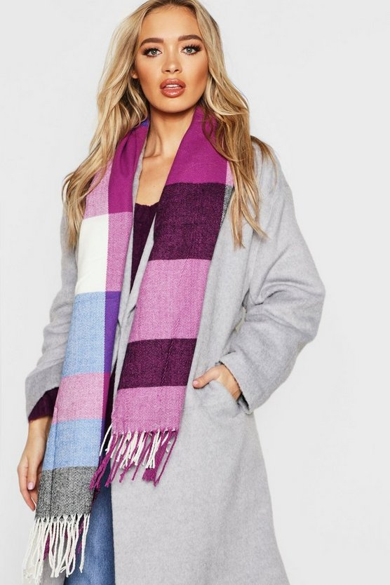 Purple Colourblock Check Woven Scarf