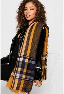 Womens Preppy Mustard Check Woven Scarf
