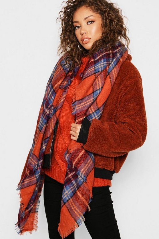 Womens Rust Check Square Woven Scarf