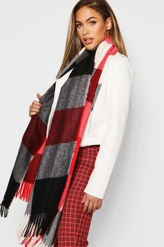 Womens Red Colour Block Check Woven Scarf
