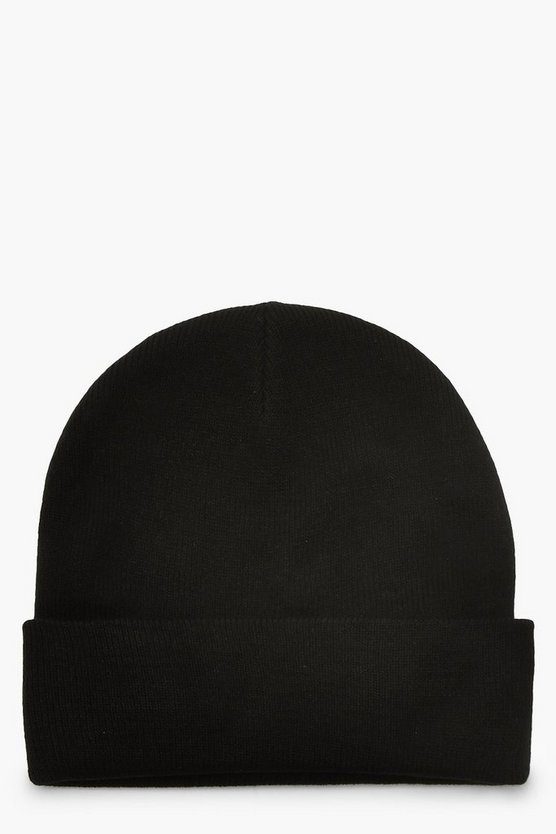 Womens Black Basic Boyfriend Beanie