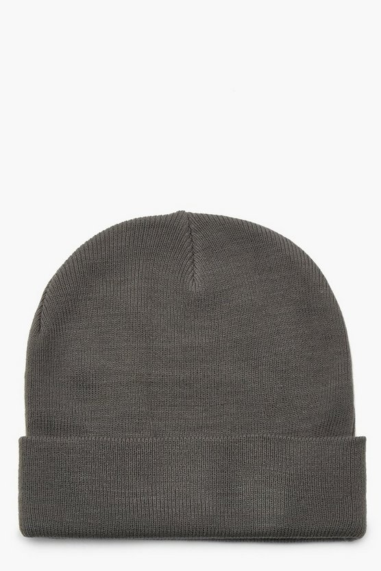 Womens Grey Basic Boyfriend Beanie