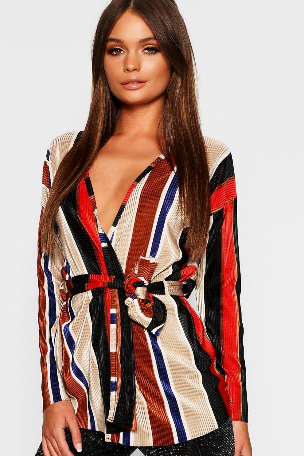 5e3c825ab12a Plisse Striped Kimono Wrap Top | Boohoo