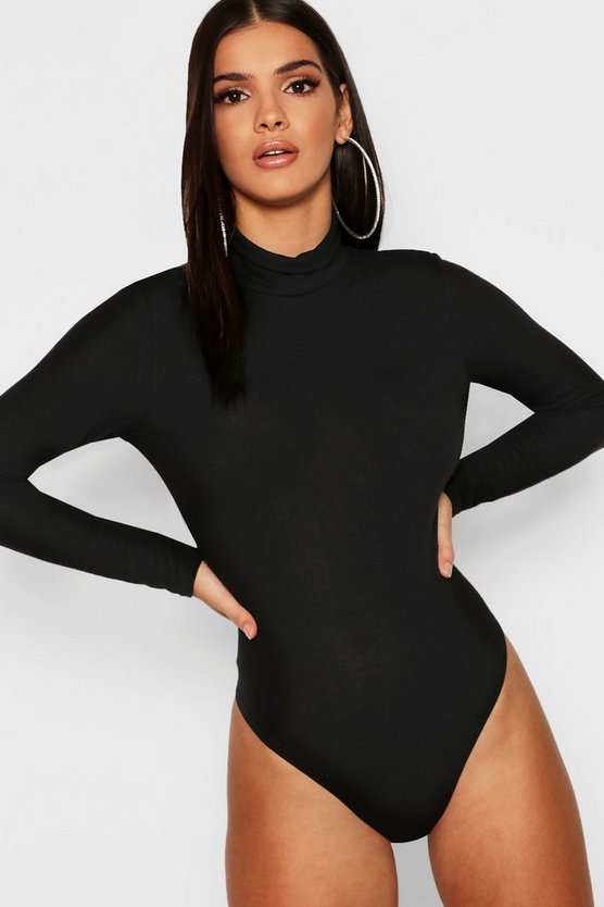 Womens Black Marl Rib Long Sleeve High Neck Bodysuit