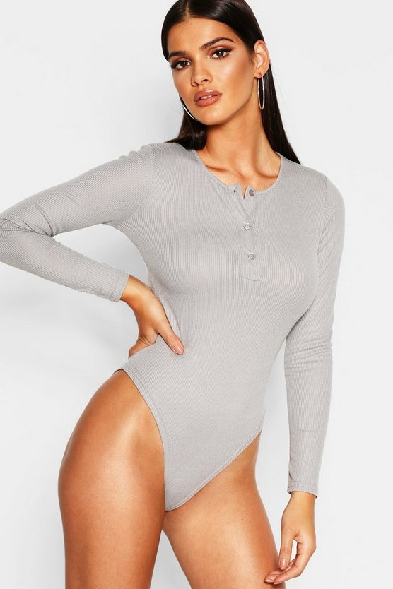 Womens Rib Button Detail Long Sleeve Bodysuit