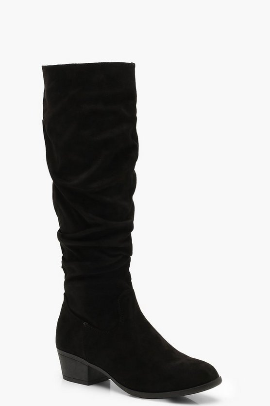 Womens Black Block Heel Slouch Knee Boots