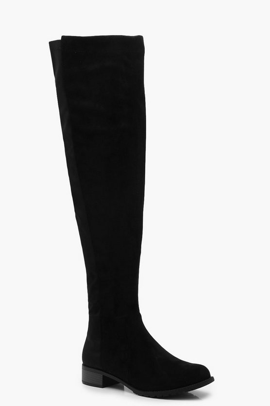 Womens Black Wider Calf Flat Knee High Boots