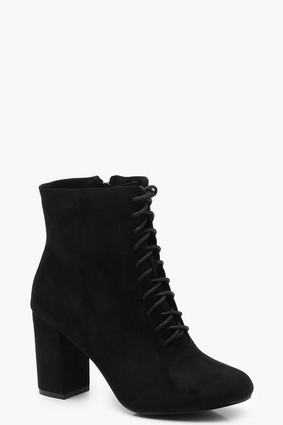 Lace Up Block Heel Shoe Boots