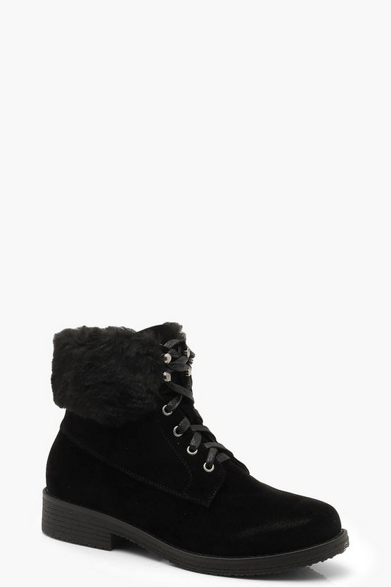 Shearling Hiker Boots