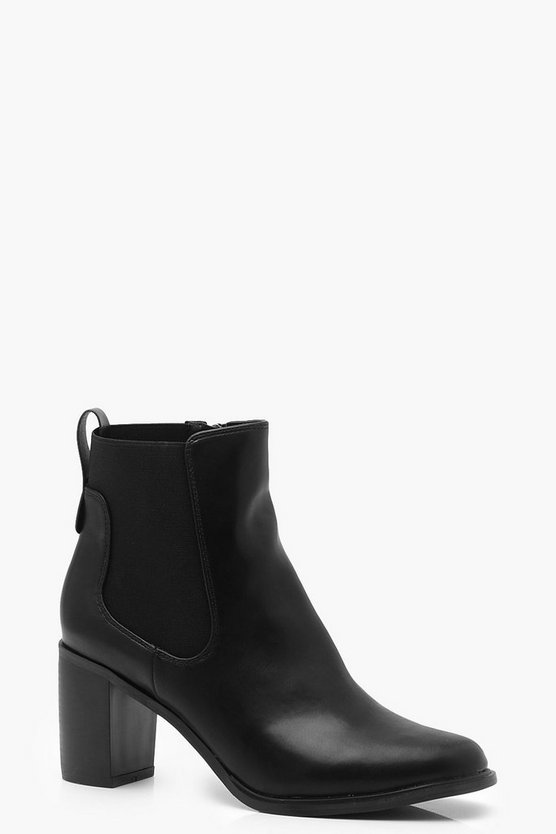 Womens Black Block Heel Chelsea Boots