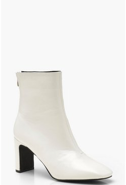 Womens White Low Heel Ankle Shoe Boots