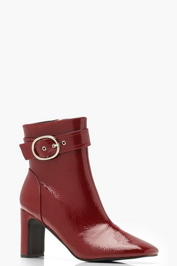 Womens Red Patent Buckle Detail Ankle Boots