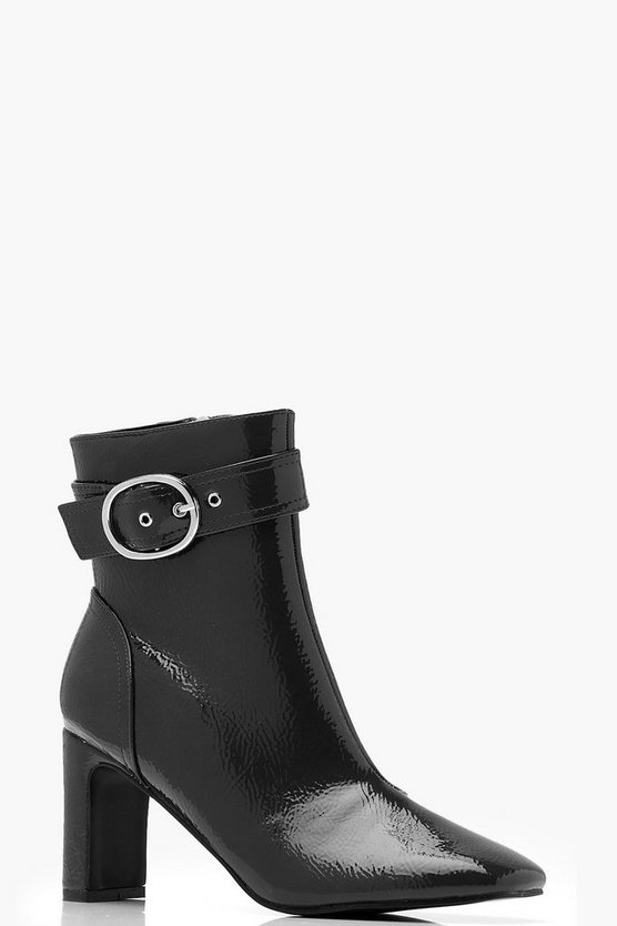 Womens Black Patent Buckle Detail Ankle Boots