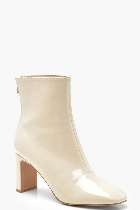 Ecru Patent Ankle Shoe Boots
