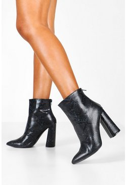 Black Snake Flared Heel Shoe Boots