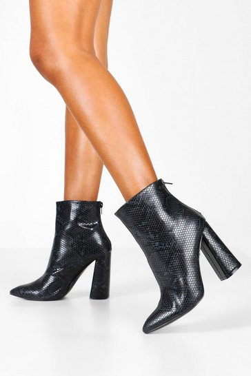 Womens Black Snake Flared Heel Shoe Boots