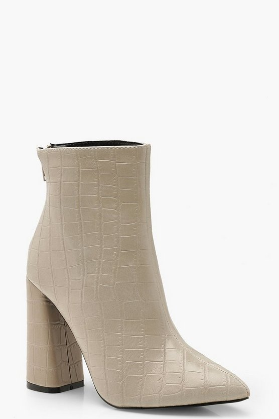 Croc Flared Heel Shoe Boots