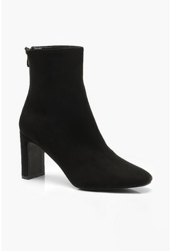 Womens Black Low Heel Ankle Shoe Boots