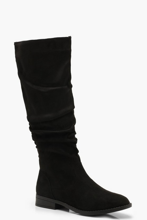 Womens Black Ruched Flat Knee High Boots