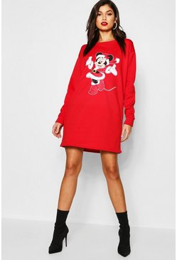 Womens Red Disney Christmas Minnie Sweatshirt Dress