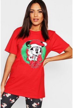 Womens Red Disney Christmas Minnie Wreath T-Shirt