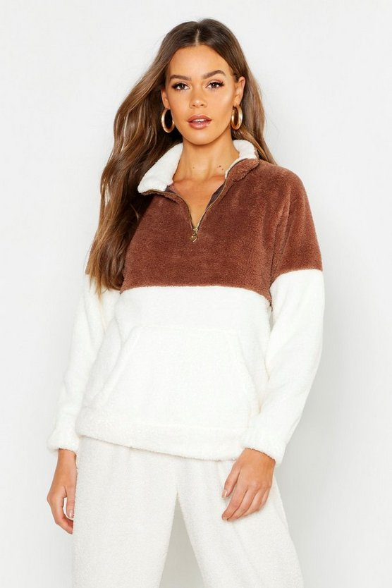 Womens Mocha Zip Through Top