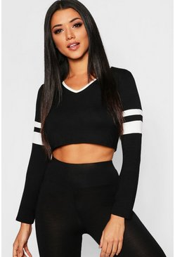 Womens V Neck Sports Stripe Crop